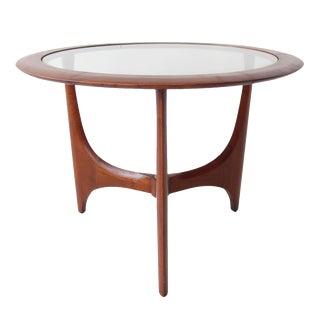 Lane Vintage Mid-Century Round Glass Side Table
