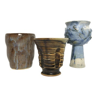 Blue & Brown Glazed Studio Pottery Collection - Set of 3