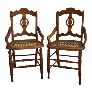Victorian Cane Seat Chairs - A Pair