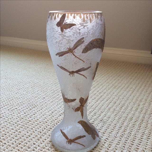 Legras Butterfly & Dragonfly Glass Vase - Image 3 of 6