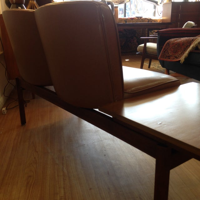 Mid-Century Two-Seater Bench & Built in End Table - Image 10 of 11