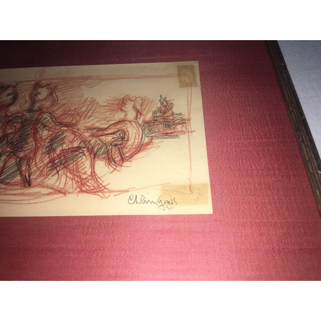 Chaim Gross Signed Original Crayon Drawing - Image 6 of 7