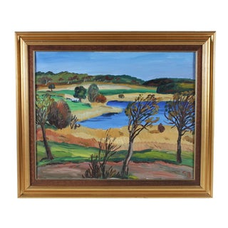 Framed French Countryside Landscape Oil Painting