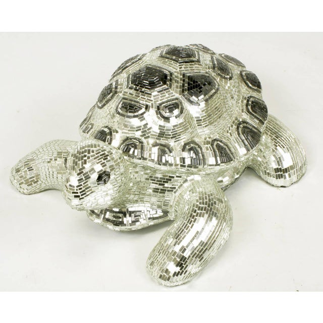 Lifesize Tortoise Sculpture Clad in Tessellated Mirror - Image 3 of 10