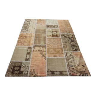 Turkish Vintage Overdyed Patchwork Oushak Rug - 5′ × 6′7″