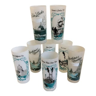 Vintage Missouri & Michigan Frosted Tall Souvenir Glasses - Set of 8