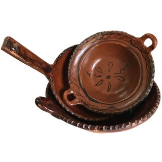 Mexican Redware Pottery Cookware - Set of 3
