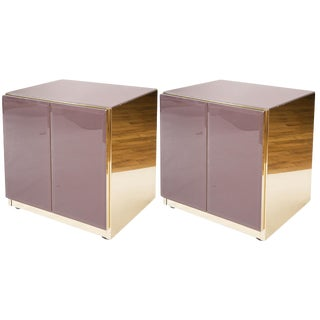 Pair of Ello Nightstands in Brass + Purple Glass