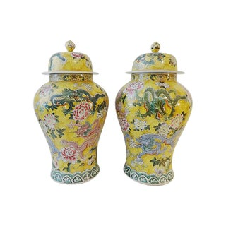 LG Imperial Yellow Ginger Jars, Pair