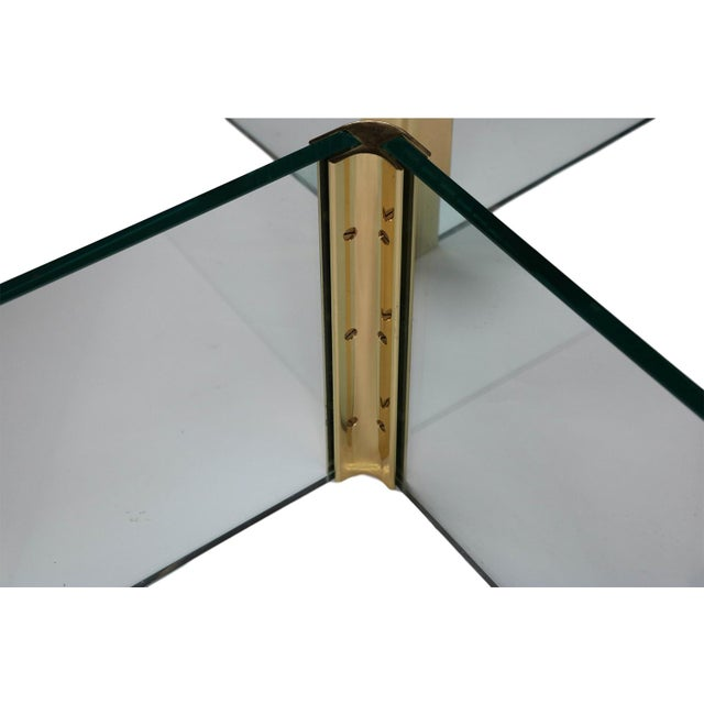 Vintage Pace Collection Rounded Glass Brass Coffee Table - Image 7 of 10