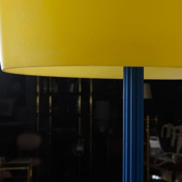 Blue and Yellow Memphis Floor Lamp with Glass Shade - Image 6 of 7
