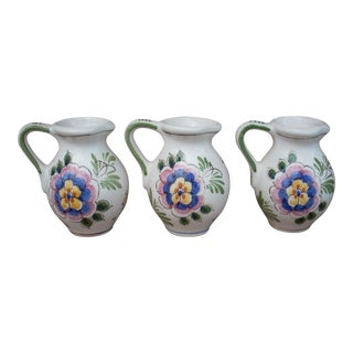 Delft Folk Art Style Pitchers - Set of 3