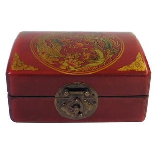 Chinese Red Rectanuglar Box with Scenery