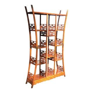 Asian Hardwood & Brass Etagere Shelf