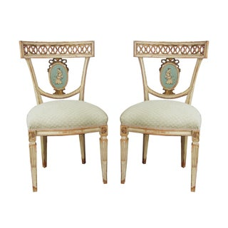 Neoclassical Hand Painted Italian Side Chairs - 2