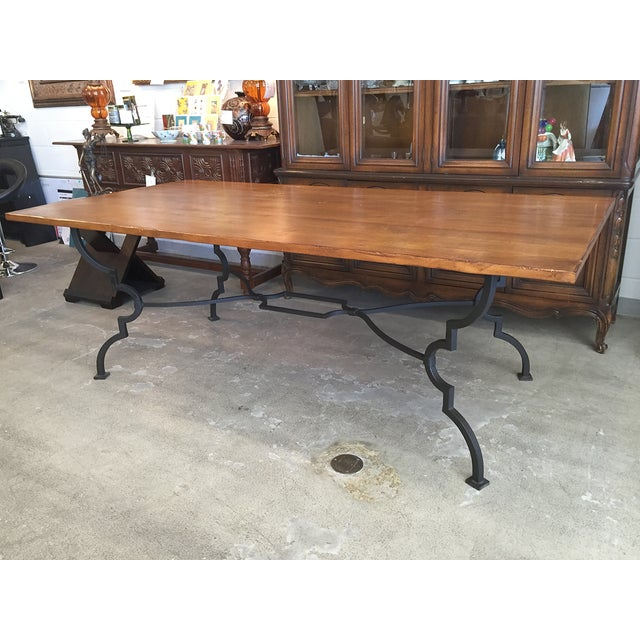 Plank Trestle Table With Iron Base - Image 6 of 10