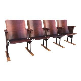 Vintage Cast Iron & Wood Theater Seats
