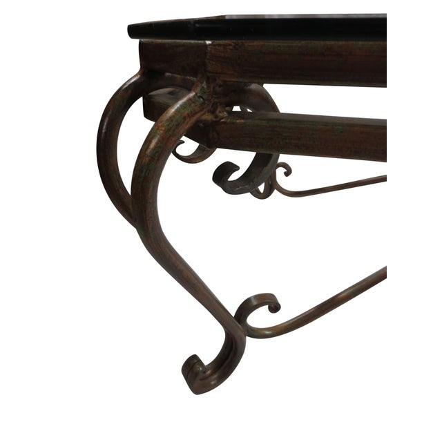 Image of Hollywood Glam Wrought Iron and Glass Coffee Table