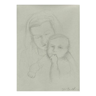 Caroline Holding Elliot Charcoal Drawing