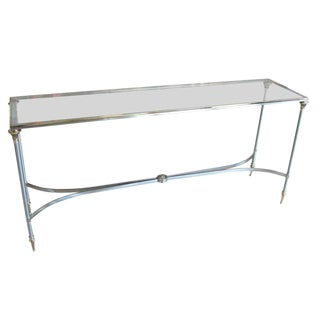 Elegant Two-Tone Steel & Brass Console by Jansen