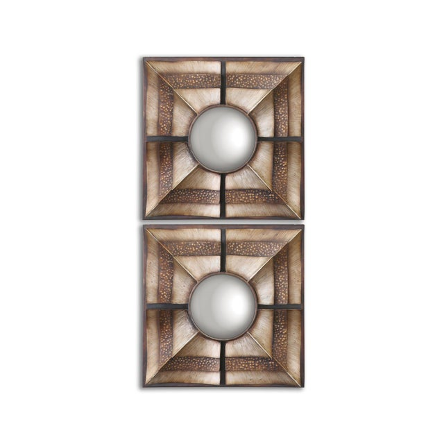 Euthalia Square Wall Mirrors - A Pair - Image 3 of 3