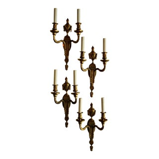 Vintage Hollywood Regency Cast Bronze Sconces - Set of 4