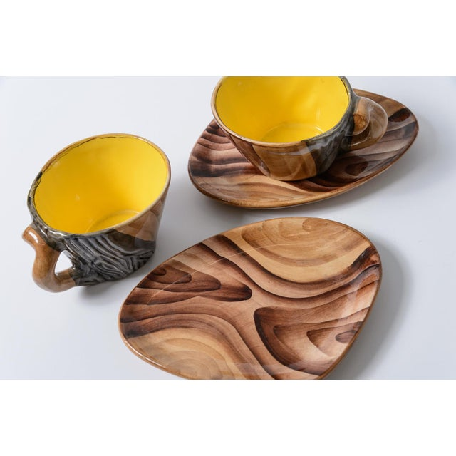 """French Vallauris Faux Bois """"Tete a Tete"""" Coffee Set - Image 6 of 10"""