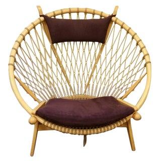 Hans Wegner Hoop Chair with Purple Suede Cushions