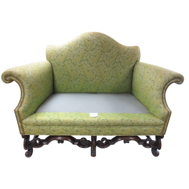 Lime Green Loveseat on Carved Stretchers - Image 8 of 10