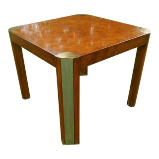 Milo Baughman Style Mid-Century Burl Wood & Brass Dining Table