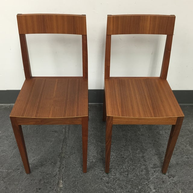 Image of Mid-Century Style Wood Chairs - A Pair
