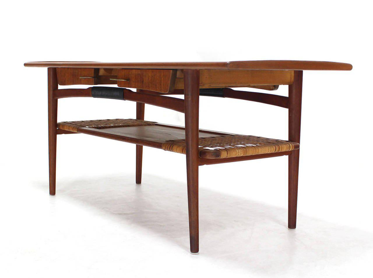 Danish Modern Teak Coffee Table Cane Shelf Rolled Edges 4 Storage Drawers    Image 3 Of
