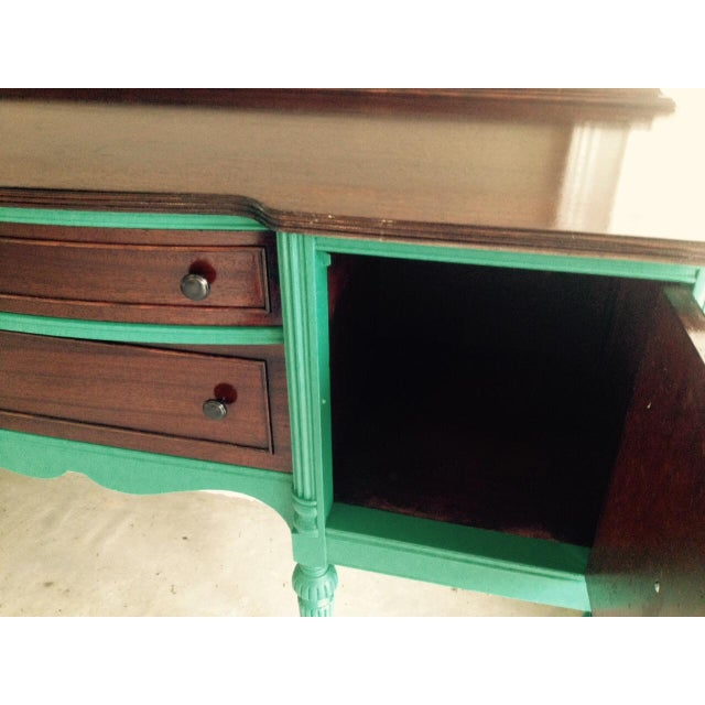 Image of Antique Teal and Wood Serving Buffet Credenza