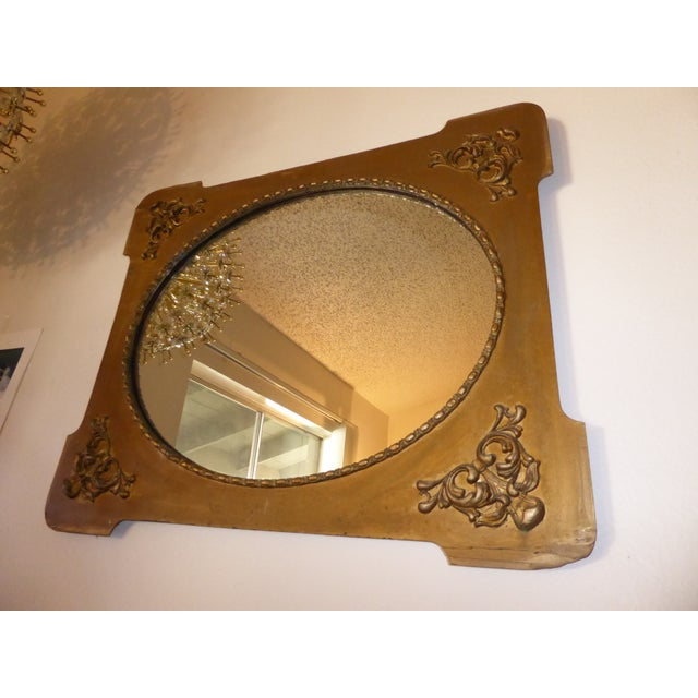 Antique Victorian Style Gold Gilt Floral Carved Wood Wall Mirror - Image 9 of 11