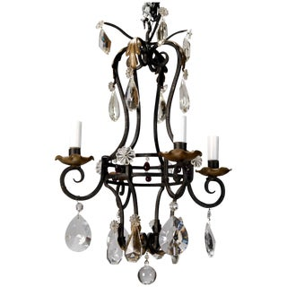 1930's French 4-Light Black Iron & Crystal Chandelier