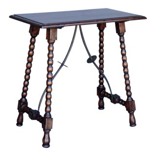 Custom Wood Side Table with Iron Supports and Turned Bobbin Legs