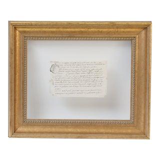 18th Century Vellum Framed French Document
