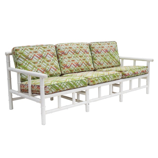 Image of White Faux Bamboo Outdoor Sofa
