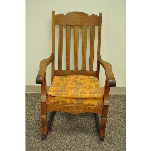 Antique Mission Arts & Crafts Carved Solid Oak Rocking Lounge Chair - Image 3 of 11