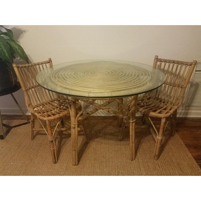 Vintage Franco Albini Rattan Table & Chairs - Image 11 of 11