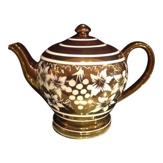 English Hand Painted Gilded Teapot