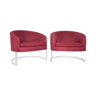 Milo Baughman for Thayer Coggin Cantilever Barrel Lounge Chairs - A Pair