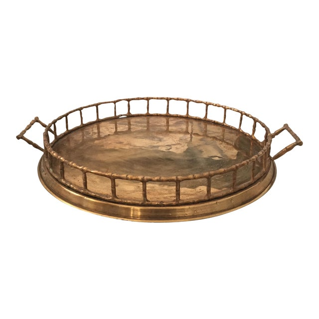 Brass Faux Bamboo Chinoiserie Tray - Image 1 of 9