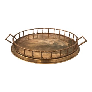 Brass Faux Bamboo Chinoiserie Tray