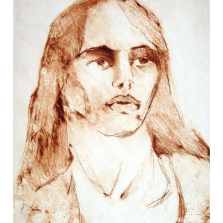 Sepia Toned Portrait Etching