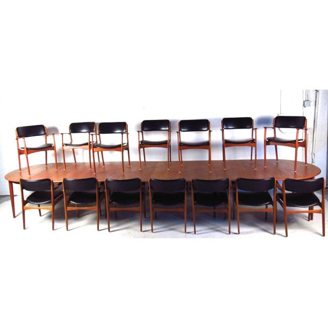 Mid-Century Teak Conference Table & 14 Eric Buck Dining Chairs - Image 2 of 10