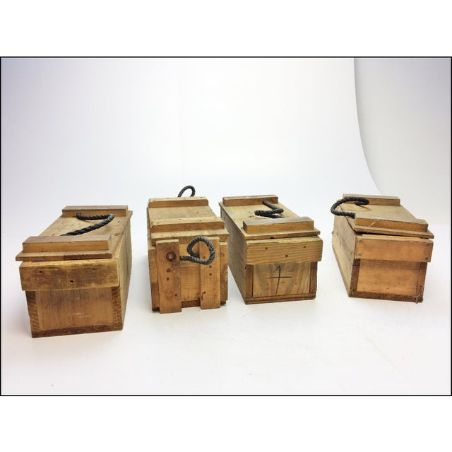 Small wood ammo boxes with rope handles set of chairish
