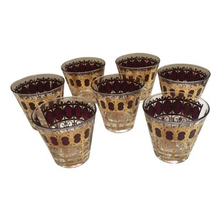 Culver Signed Gold High Ball Glasses - Set of 7