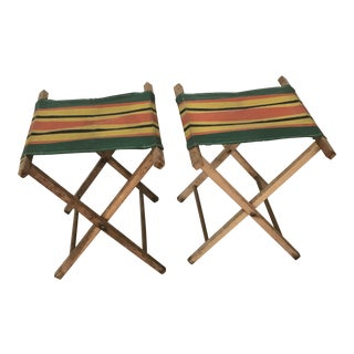 Vintage Striped Folding Canvas Camp Stools - A Pair