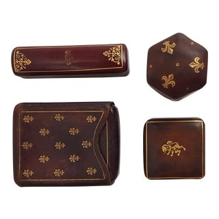Italian Leather Vintage Boxes - Set of 4